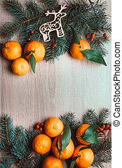 natal, topo, berries., configuração, abeto, vista, fundo, ramos, tangerines, rowan, frame., apartamento, feriado, inverno