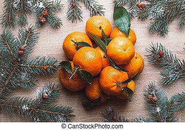 natal, topo, mandarins, bagas, configuração, abeto, snow., vista, fundo, ramos, frame., rowan, apartamento, feriado, inverno