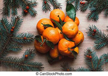 natal, topo, mandarins, berries., configuração, abeto, vista, fundo, ramos, frame., rowan, apartamento, feriado, inverno