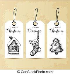 natal, vetorial, sock., sketch., jogo, xmas, mão, desenhado, gingerbreads, etiquetas, vindima