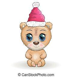 natal, year., grande, novo, olhos, cute, feliz, caricatura, urso, chapéu