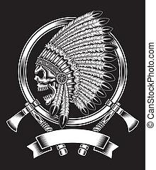 nativo, chefe, americano, cranio, indianas