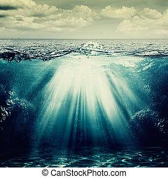 natural, abstratos, fundos, oceânicos, sob, superfície