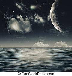 natural, estrelado, abstratos, noturna, mar, paisagem