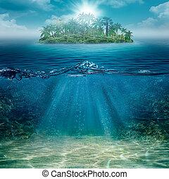 natural, ilha, abstratos, fundos, oceânicos, sozinha