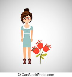 natural, personagem, três, floral, menina, ícone