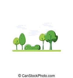 nature., park., caricatura