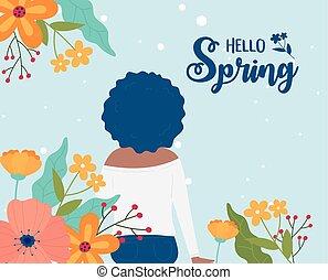 natureza, flores, cabelo, primavera, cacheados, mulher, olá