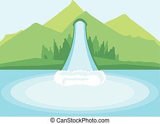 natureza, floresta, paisagem, cachoeira, rio, montanhas
