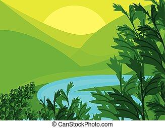 natureza, floresta, paisagem, foliage, vale rio, montanhas