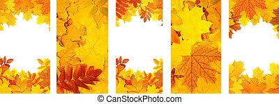 natureza, folhas, outono, bandeiras verticais, jogo