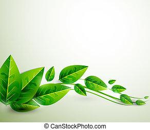 natureza, folhas, voando, |, vetorial, experiência verde, abstratos