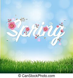 natureza, primavera, fundo, texto, capim, borda