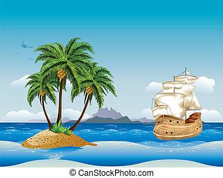 navio, antigas, mar