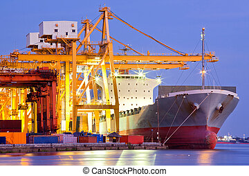 navio carga, industrial, recipiente