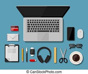 negócio, apartamento, ícones, escritório, workplace., modernos