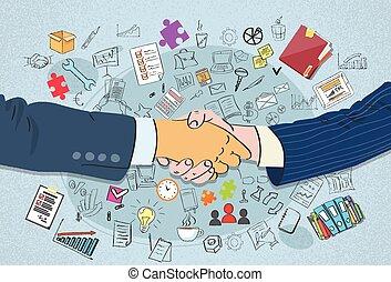 negócio, aperto mão, doodle, apertar as mãos, conceito