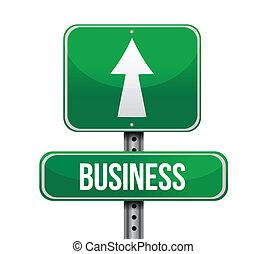 negócio, desenho, estrada, ilustração, sinal