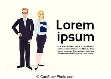 negócio, espaço, executiva, par, ternos, elegante, fundo, homem negócios, cópia, sobre