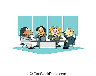 negócio, falando, pessoas, pensando, levando, reunião, notas