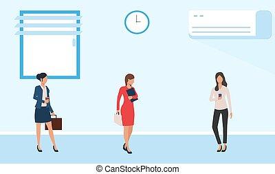 negócio, femininas, quarto conferência, reunião