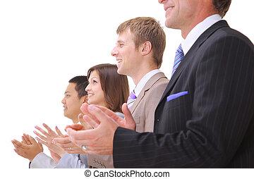 negócio, fundo, aplauso, isolado, equipe, branca