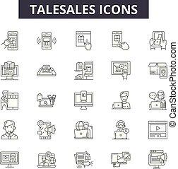 negócio, illustration:, linha, venda, telesales, jogo, telefone, esboço, conceito, comunicação, apoio, vector., telesales, serviço, marketing, sinais, ícones