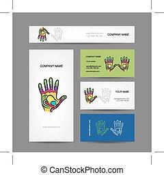 negócio, mão, reflexology, desenho, cartões, massagem