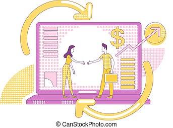 negócio, magra, teia, caráteres, influencers, illustration., 2d, sociedade, caricatura, idéia, conceito, promoção, programa, sócios, linha, criativo, design., vetorial, internet, estratégia, affiliate, marketing