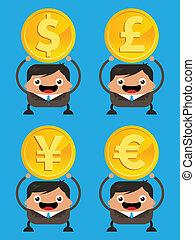 negócio, moeda corrente, homens, segurando, moedas