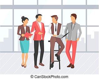 negócio mulher, companhia, trabalhadores, reunião homem