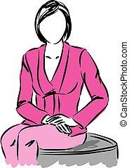 negócio mulher, ilustração, sentando