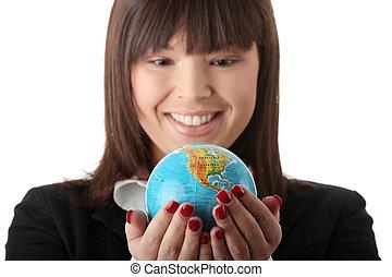 negócio mulher, jovem, optimista, bonito