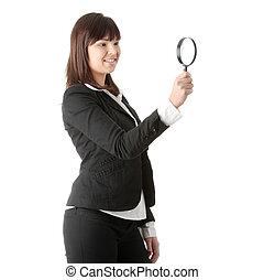 negócio mulher, magniying, olhar vidro