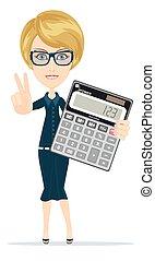negócio mulher, sucedido, mostrando, sinal, vitória, segurando, calculadora