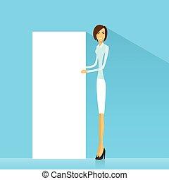 negócio mulher, tábua, executiva, mostrando, espaço, signboard, branca, cópia, caricatura, vazio