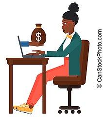 negócio mulher, trabalhando, escritório.