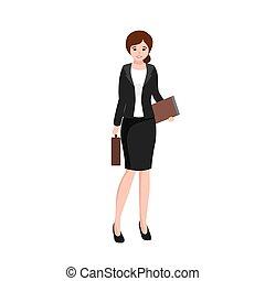 negócio mulher, trabalhando escritório, trabalhador, saco, arquivo