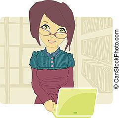 negócio mulher, usando, dela, laptop