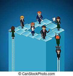 negócio, níveis, pessoas., trabalho grupo, sucesso