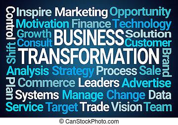 negócio, palavra, transformação, nuvem