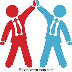 negócio, pessoas negócio, acordo, sucesso, comemorar