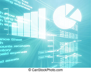 negócio, spreadsheet, ilustração, gráficos