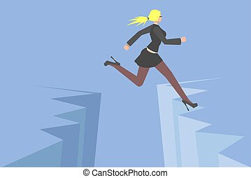 negócio, superar, risco, terra, obstáculo, evitar, conceito, chão, illustration., collection., executiva, crise, salto, vector., sobre, apartamento, problema, problema, fenda, vetorial, pessoas, rift., criativo
