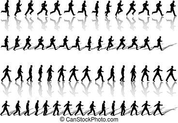 negócio, voltas, passeio, poder, homem, quadro, corrida, &, sequência