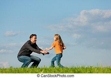 negócios, -, filha, família, pai