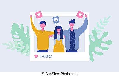 network., amizade, jogo, pessoas, conceito, foto, adolescentes, students., masculino jovem, ilustração, caráteres, seguidores, femininas, social, fazer, histórias, gostar, equipe, vetorial, feliz