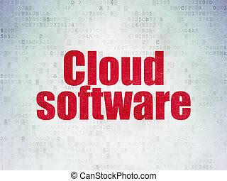 networking, papel, concept:, fundo, digital, dados, nuvem, software