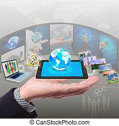 networking, sincronização, parte, stramimg, informação, nuvem