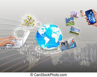 networking, sincronização, parte, streaming, informação, nuvem